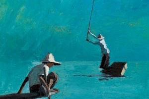 Two Fishermen, Inle Lake, Burma - oil on board - 40 x 40 cm - sold