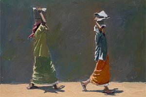 Women Carrying Stones, Kerala - oil on board - 30 x 45 cm - sold