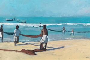 Two Lines of Men Pulling Ropes, Sri Lanka - oil on board - 30 x 60 cm - sold