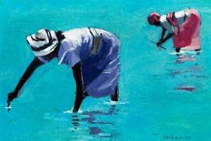 2 Women Collecting Shellfish, Zanzibar - oil on board - 20 x 28 cm - sold