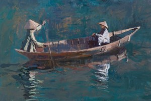 Two Women in a Boat, Hoi An, Vietnam - acrylic on board -  48 x 62 cms - sold