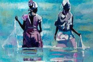 Two Women Fishing with Nets, Zanzibar - oil on board - 84 x 98 cm - sold