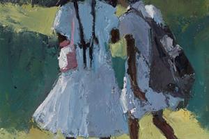 Two Girls with Umbrellas,  Sri Lanka - oil on board - 40 x 25 - sold