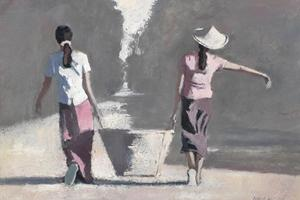 Girls Carrying a Basket, Burma - oil on board - 35 x 50 cm - sold