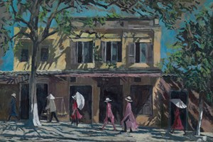 Walking in Shadows, Vietnam - acrylic on board -  77 x 110 cms - sold