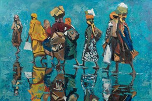 Walking in Shallow Water, Mozambique  - Oil on Board - 90 x 137 cm - POA
