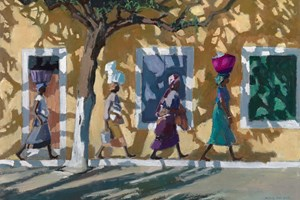 Walking in Shadows, Mozambique  - Oil on Board - 56 x 80 cm - SOLD
