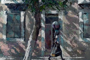 Woman Walking Under a Tree, Mozambique - acrylic on board - 84 x 98 - sold
