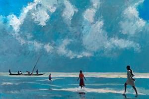 Walking to the Boat, Zanzibar - oil on board - 110 x 77 cm - sold
