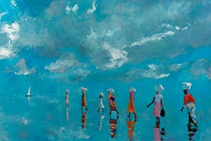 Walking to the Boat, Mozambique  - Oil on Board - 90 x 137 cm - sold