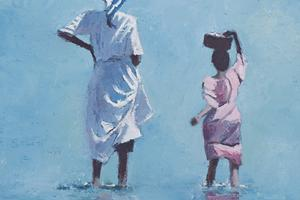 Lookng out to sea, Zanzibar - Oil on Board - 40 x 40 cm - sold