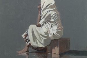Seated Woman, Diu, India  - Oil on Board - 50 x 50 cm - SOLD