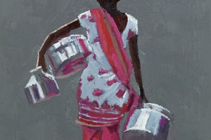 Woman Carrying Canisters, Mumbai - oil on board - 50 x 35 - POA