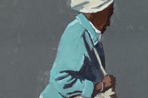Woman with a Handbag  - Oil on Board - 60 x 30 cm - sold