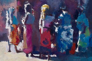 Women at a Market Stall, Mozambique - oil on board - 35 x 50 cm - sold