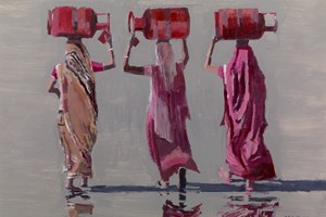 Women Carrying Gas Containers, India - 50 x 70 cms - acrylic on board - sold