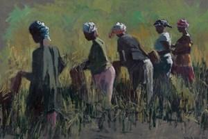 Women Working in A Rice Field - acrylic on board -  35 x 50 cms - sold