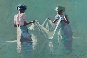 Women with a Fishing Net, Madagascar  - Oil on Board - 35 x 50 cm - sold