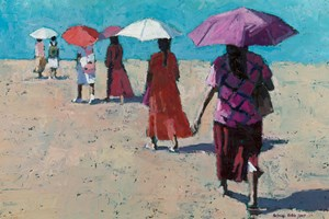 Women with Umbrellas on the Beach, Sri Lanka - Oil on Board - 35 x 50 cm - SOLD