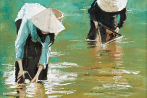 Woman with Fishing Nets, Laos  - Oil on Board - 40 x 40cm - sold