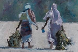 Women Carrying Seaweed, Zanzibar - oil on board - 35 x 50 cm - sold