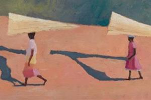 Two Women, Madagascar - oil on board - 28 x 56 cm - sold