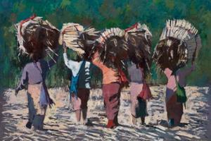Women Carrying Sugar Cane, Burma - oil on board - 77 x 100 cm - sold