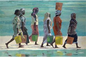 Women Walking, Zanzibar - oil on board - 90 x 135 cm - sold