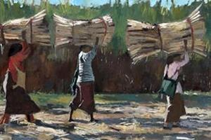 Four Women Carrying Sugar Cane, Burma - oil on board - 60 x 140 cm - £5500