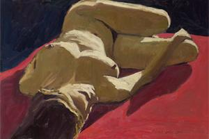 Reclining Nude on Red - oil on board - 30 x 50 cm - sold