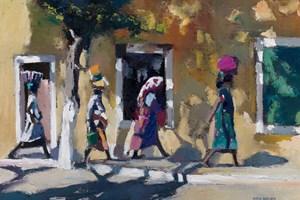 Four Women Walking, Mozambique - oil on board - oil on board - 35 x 50 cm - sold