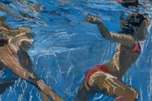 Swimmers - acrylic on board - 30 x 60 cm - sold