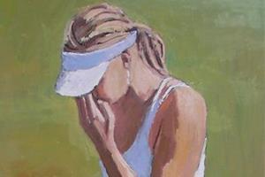 Maria Sharapova at Wimbledon - oil on board -100 x 50 cm - sold
