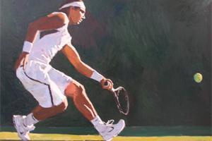 Rafael Nadal at Wimbledon - oil on board - 80 x 120 cm - £3250