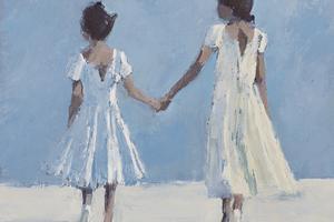 Sisters Holding Hands, Zanzibar - oil on Board - 30 x 30 cm - sold