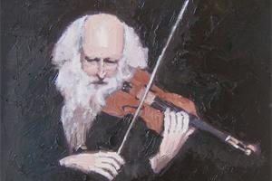Violinist - oil on board - 25 x 32 cm - sold
