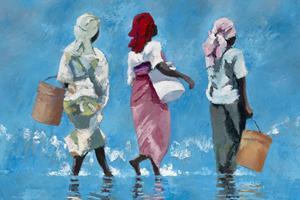 Three women on the beach, Zanzibar - oil on board - 75 x 100 cm - sold