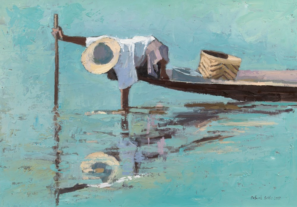 Fisherman with Stick and Basket, Burma  - Oil on Board - 35 x 50 cm - SOLD