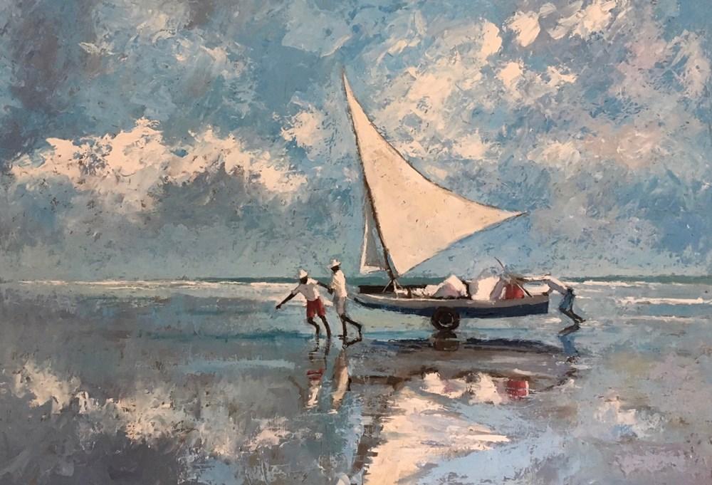 Hauling the Boat In, Brazil  - Oil on Board - 35 x 50 cm - not yet for sale