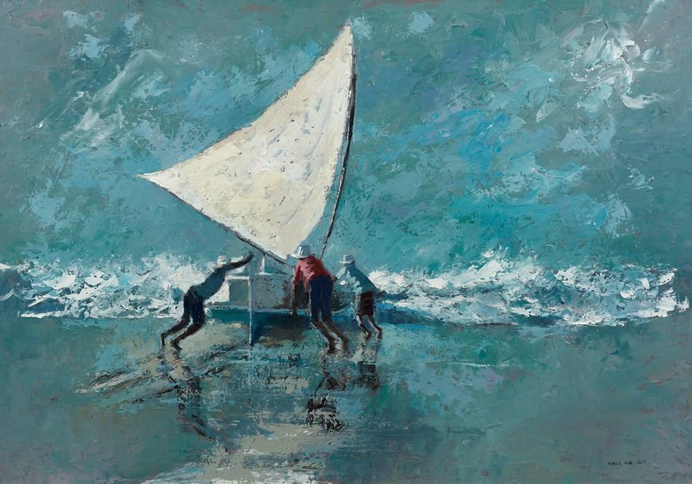 Launching a Fishing Boat, Brazil - Oil on Board - 77 x 110 cm - POA