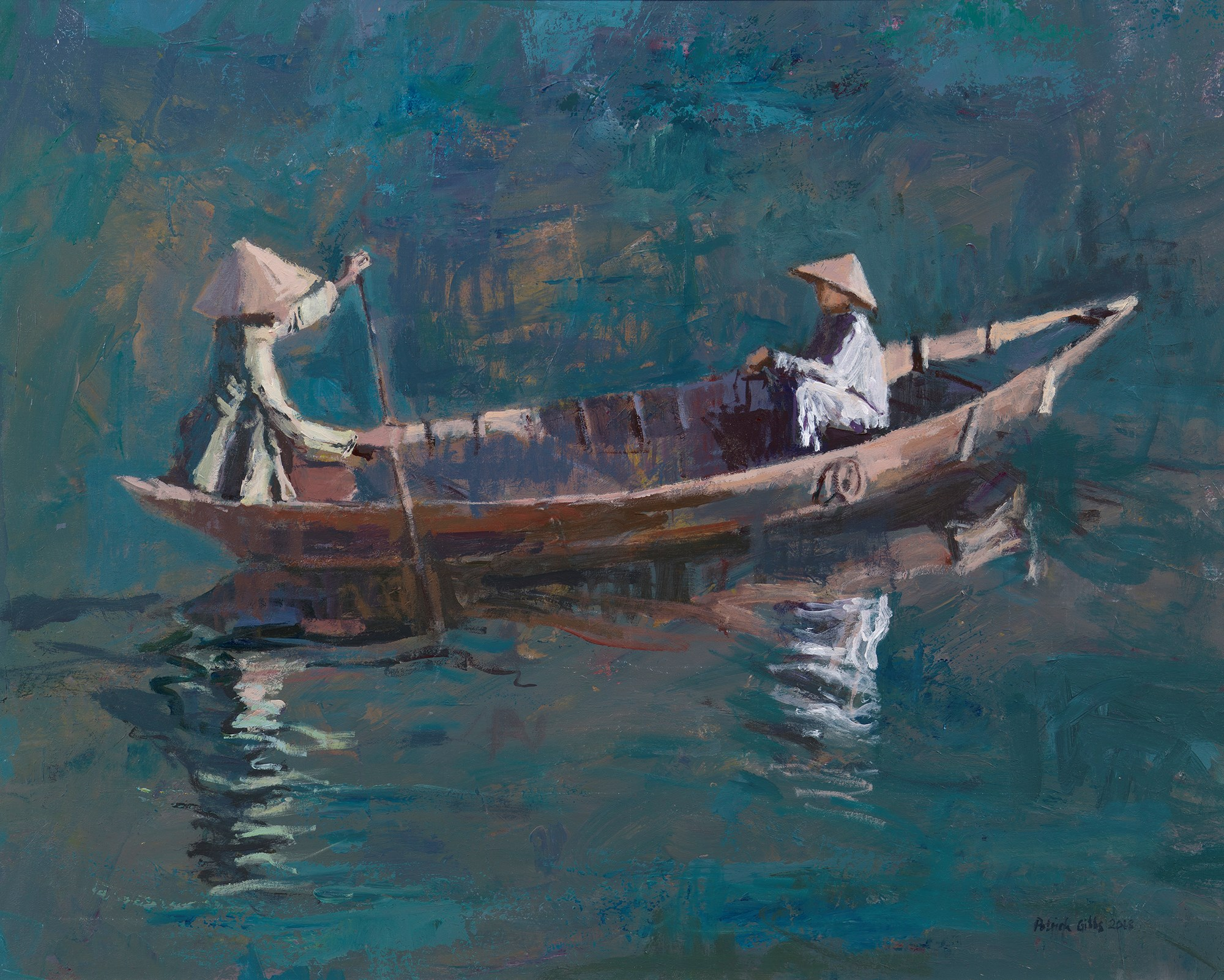 Two Women in a Boat, Hoi An, Vietnam - acrylic on board -  48 x 62 cms - POA