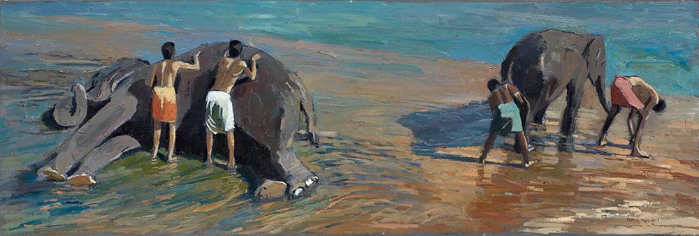 Washing Elephants, Kerala - Oil on Board - 35 x 105 - cm - Sold