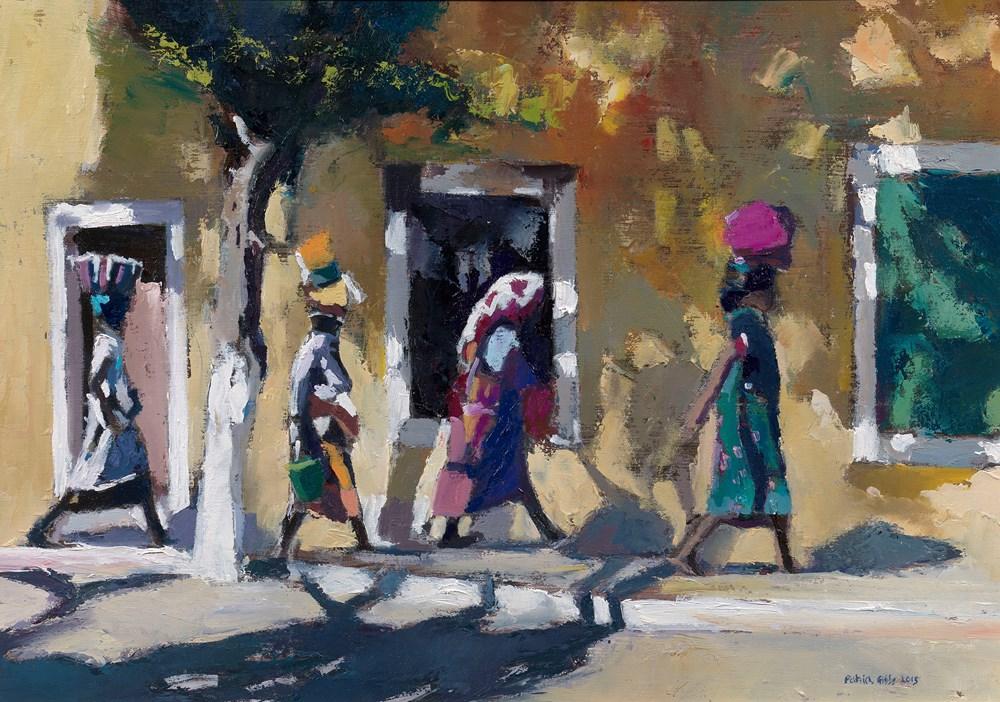 Four Women Walking, Mozambique - oil on board - oil on board - 35 x 50 cm - POA