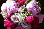 Summer Bridal bouquet with garden roses.