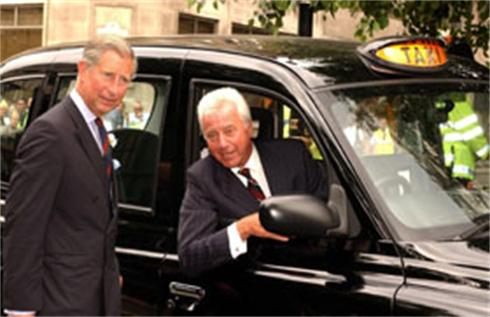 The Prince of Wales talks with John Sheen before riding in his cab to Clarence House after a visit to a taxi drivers' shelter in London's Hanover Square,  His father, the Duke of Edinburgh, frequently uses his Metrocab for engagements in London, travelling around the city unnoticed. At the Clarence House reception, the Prince was thanking taxi drivers for the contribution they make to the capital.
