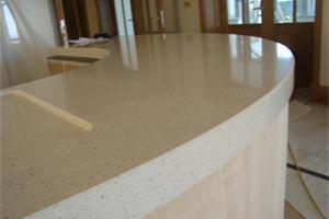 Quartz Fabricated Curved Worktop with 60mm Downstand